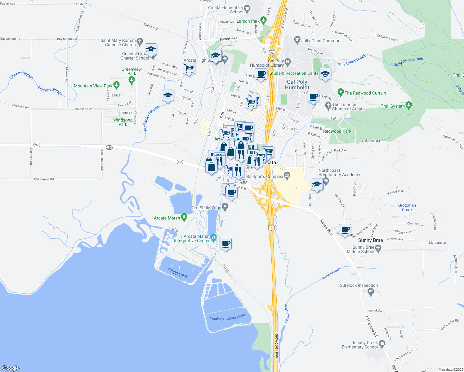 map of restaurants, bars, coffee shops, grocery stores, and more near 293 G St in Arcata