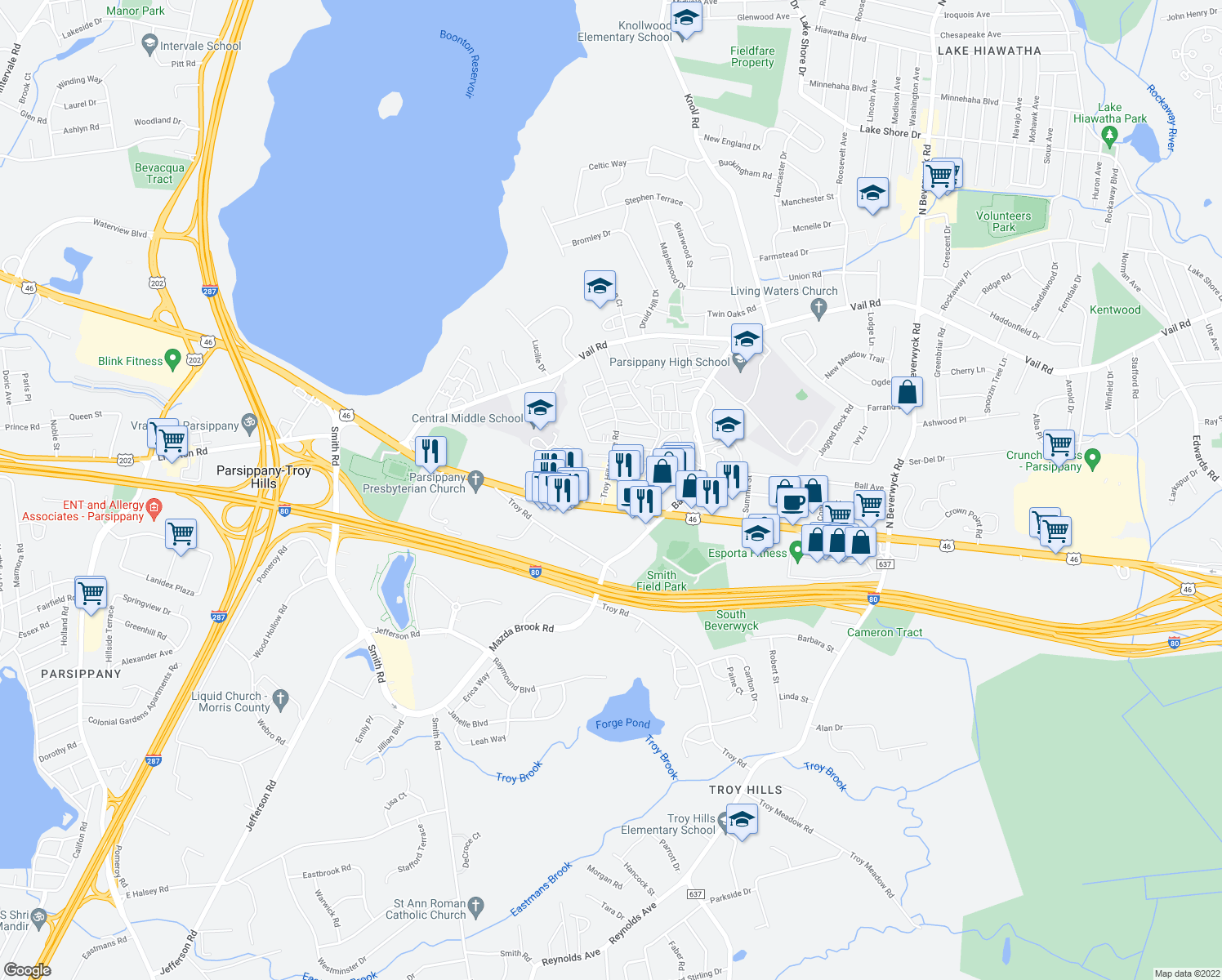map of restaurants, bars, coffee shops, grocery stores, and more near 1470 Rte 46 in Parsippany-Troy Hills