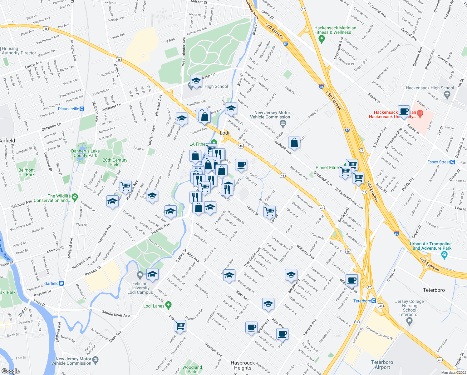 map of restaurants, bars, coffee shops, grocery stores, and more near 10 Massey St in Lodi