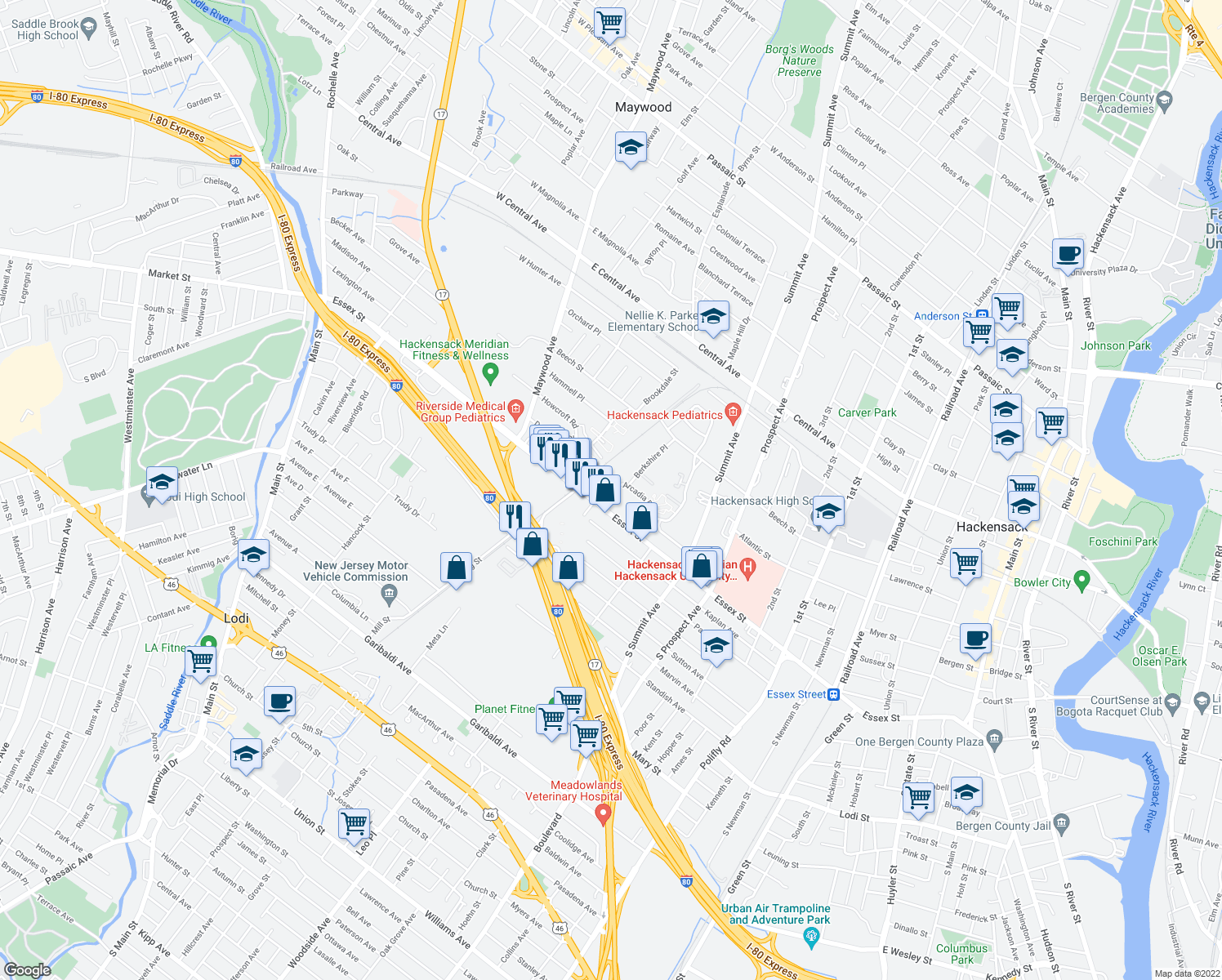 map of restaurants, bars, coffee shops, grocery stores, and more near 105-135 Arcadia Road in Hackensack