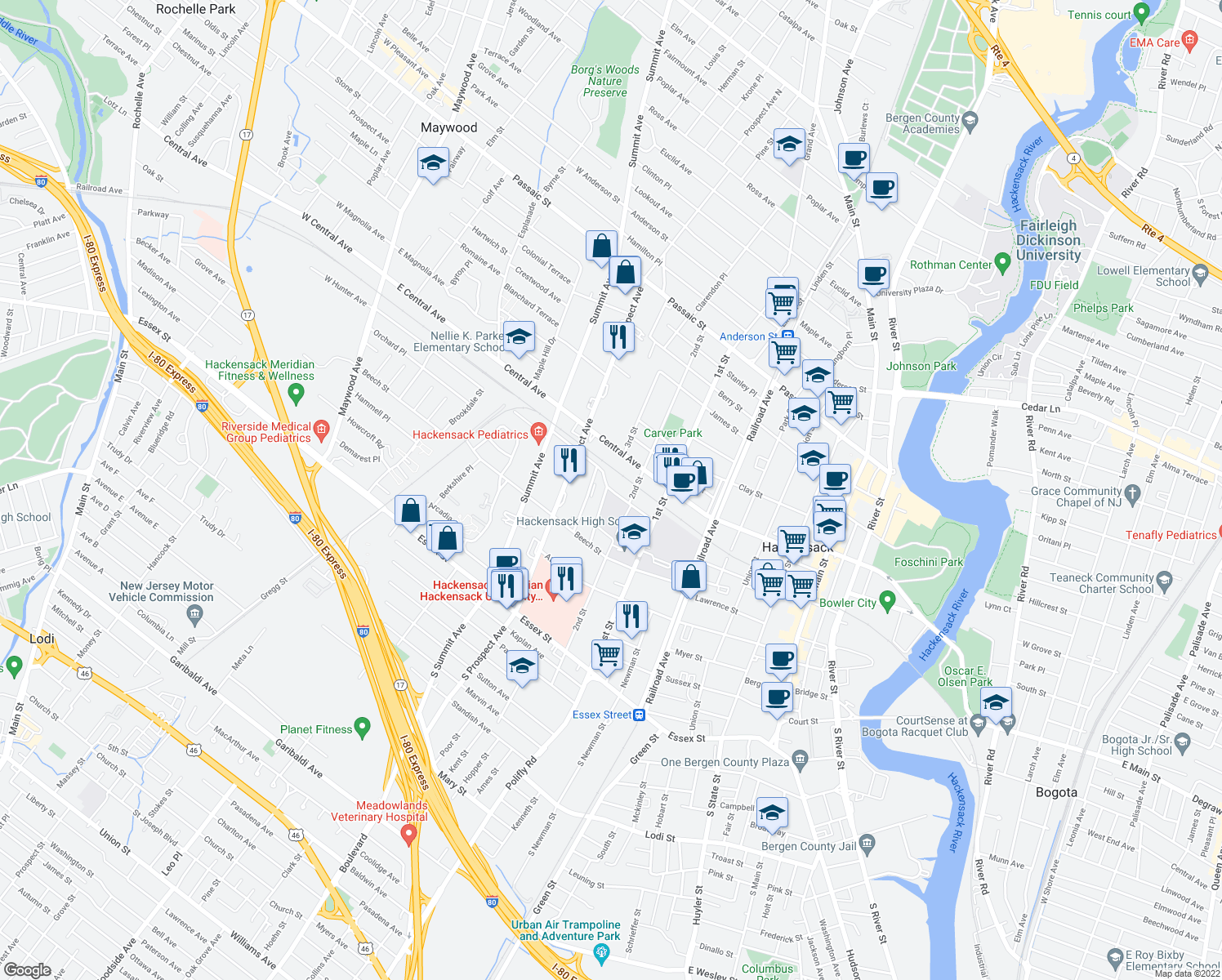map of restaurants, bars, coffee shops, grocery stores, and more near 287-311 American Legion Dr in Hackensack