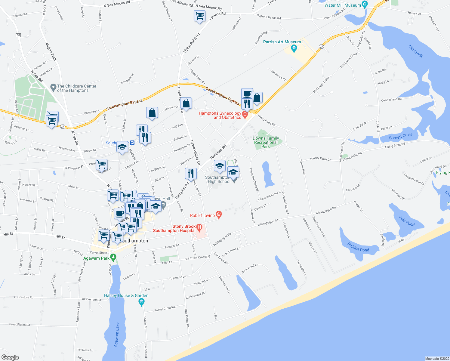 map of restaurants, bars, coffee shops, grocery stores, and more near 141 Narrow Lane in Southampton