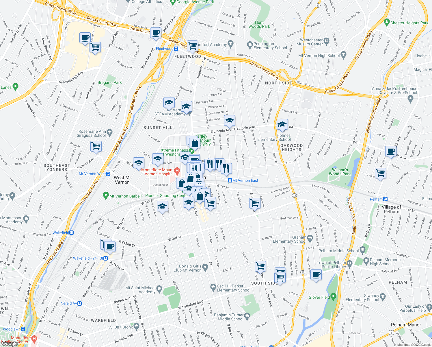 map of restaurants, bars, coffee shops, grocery stores, and more near E Prospect Ave & Park Ave in Fleetwood