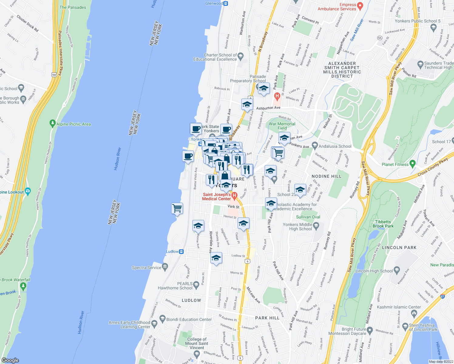 map of restaurants, bars, coffee shops, grocery stores, and more near in Yonkers