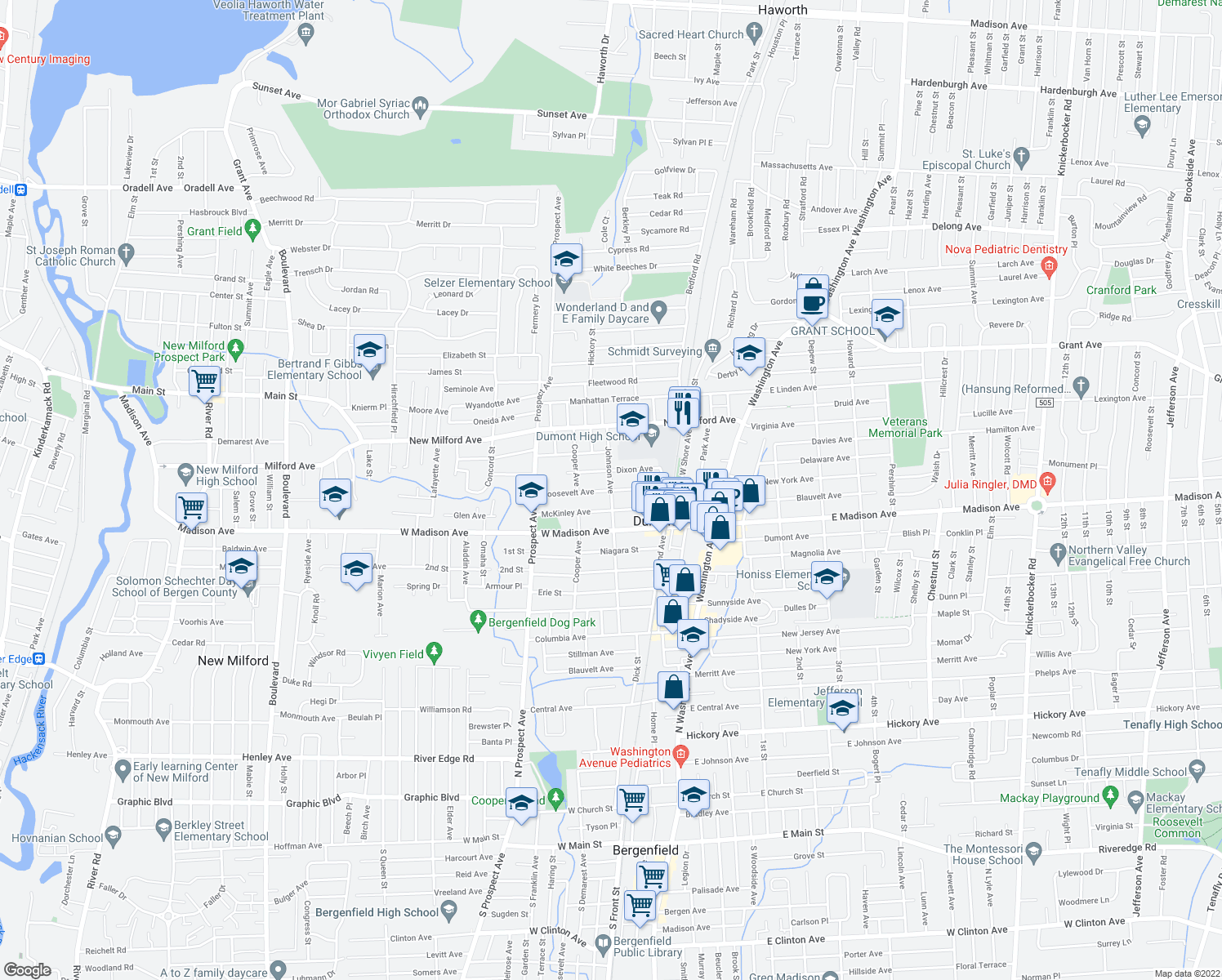 map of restaurants, bars, coffee shops, grocery stores, and more near Roosevelt Ave & Johnson Ave in Dumont