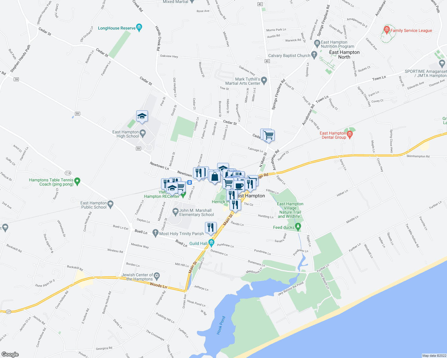 map of restaurants, bars, coffee shops, grocery stores, and more near 86 Newtown Lane in East Hampton