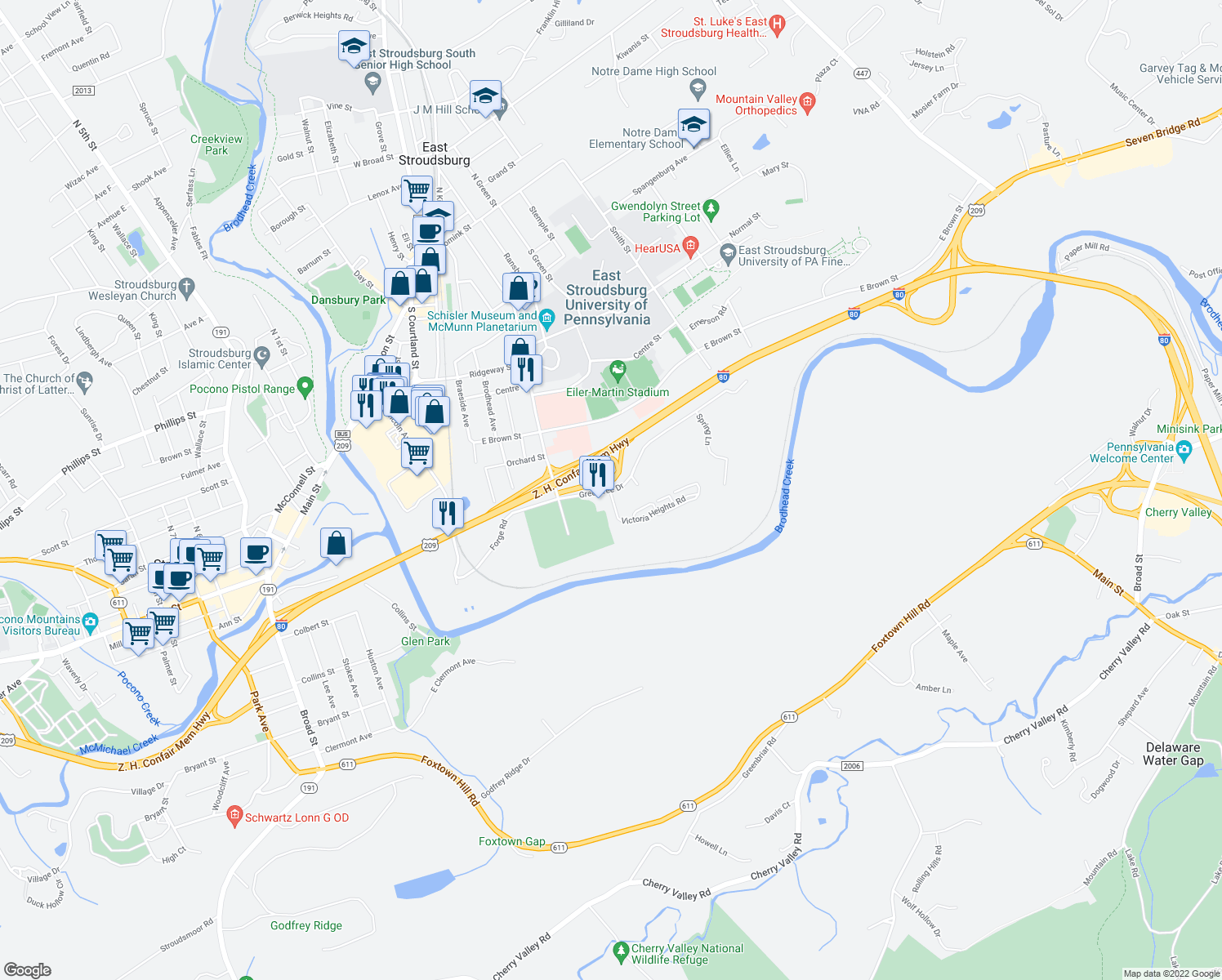 map of restaurants, bars, coffee shops, grocery stores, and more near 1-173 Victoria Heights in East Stroudsburg