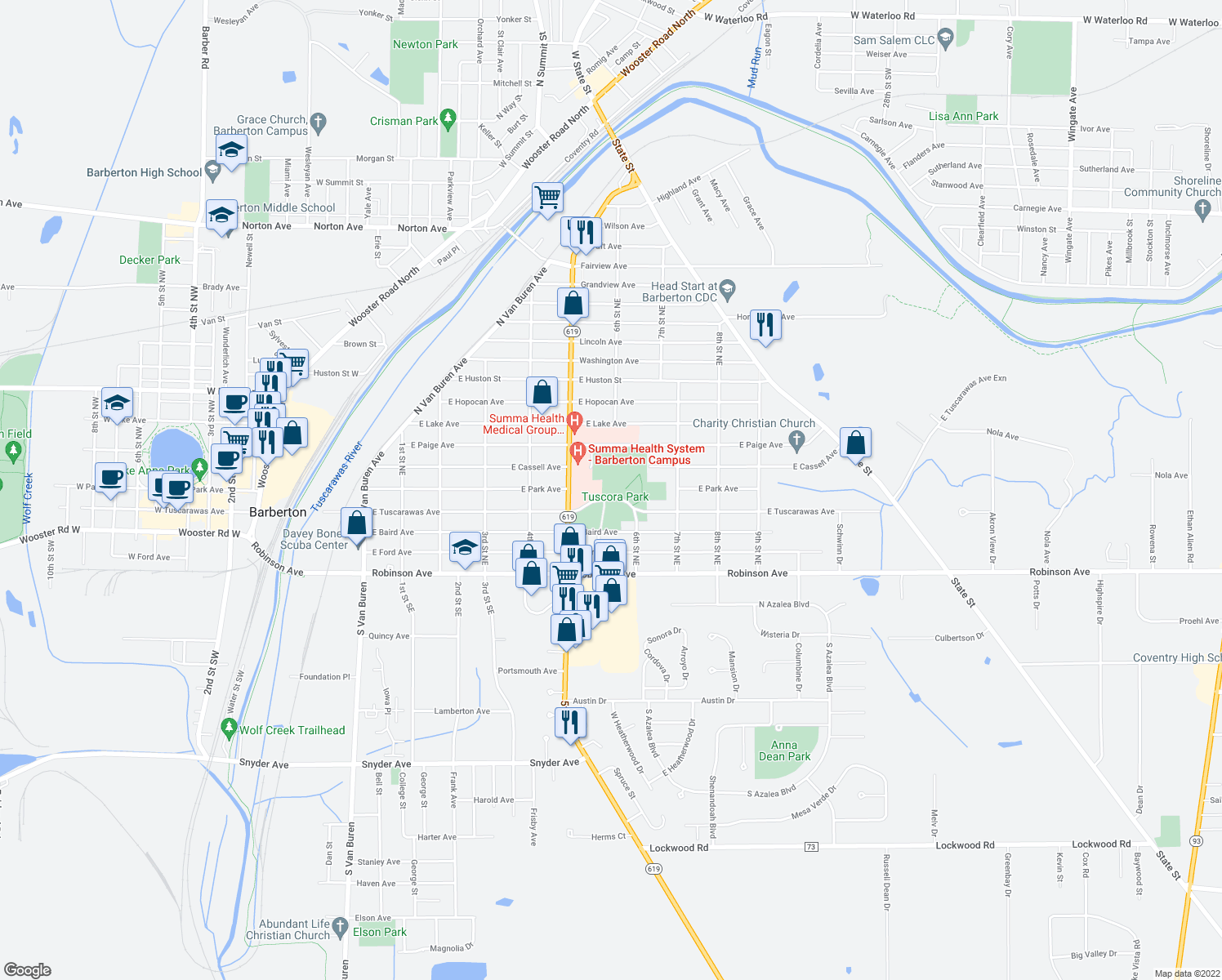 map of restaurants, bars, coffee shops, grocery stores, and more near 555 East Tuscarawas Avenue in Barberton