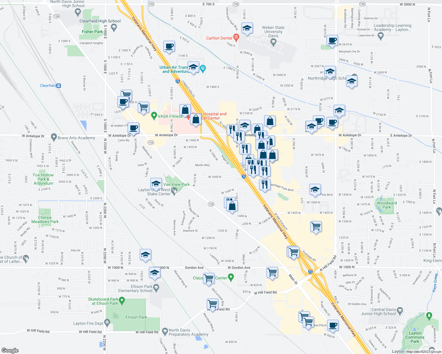 map of restaurants, bars, coffee shops, grocery stores, and more near 1428 West 1650 North in Layton