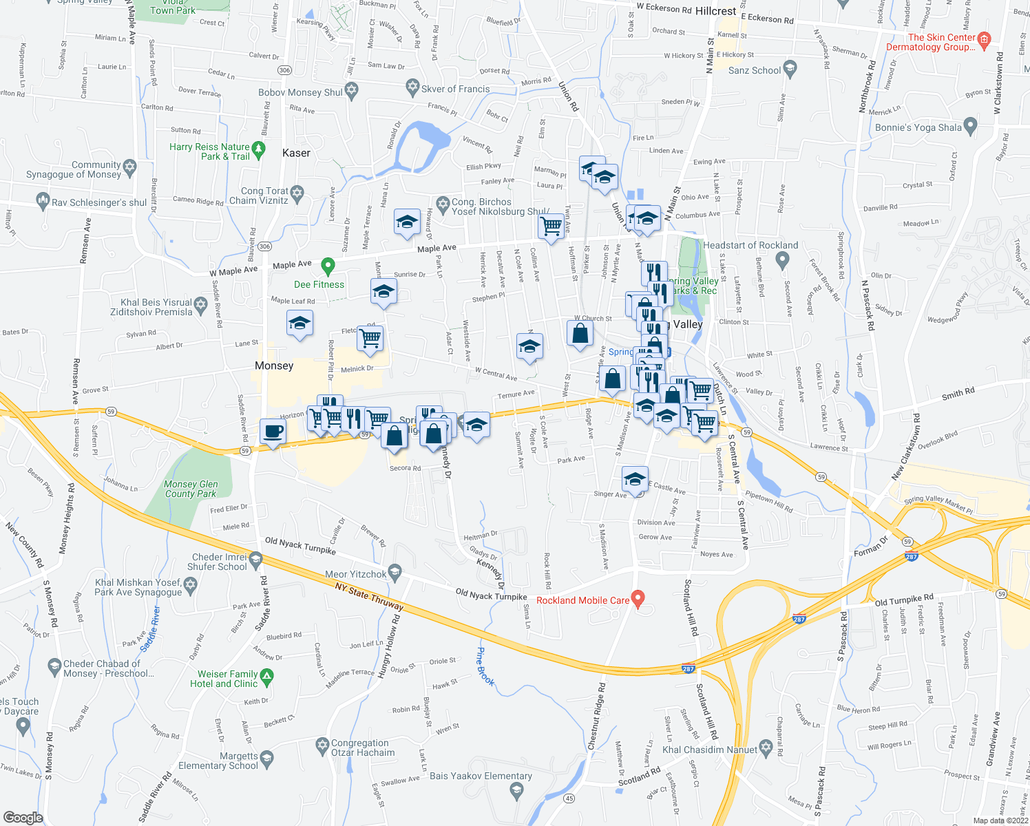 map of restaurants, bars, coffee shops, grocery stores, and more near 48 West Route 59 in Spring Valley