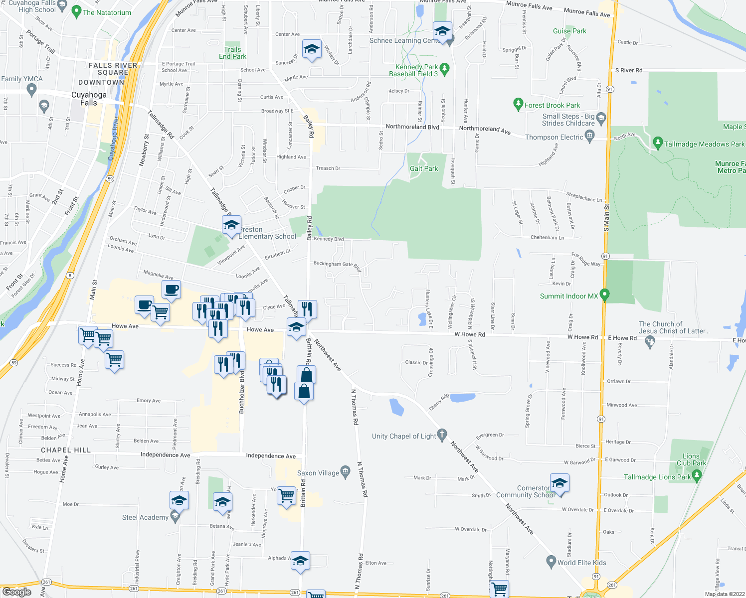 map of restaurants, bars, coffee shops, grocery stores, and more near 1305 Buckingham Gate Blvd in Cuyahoga Falls