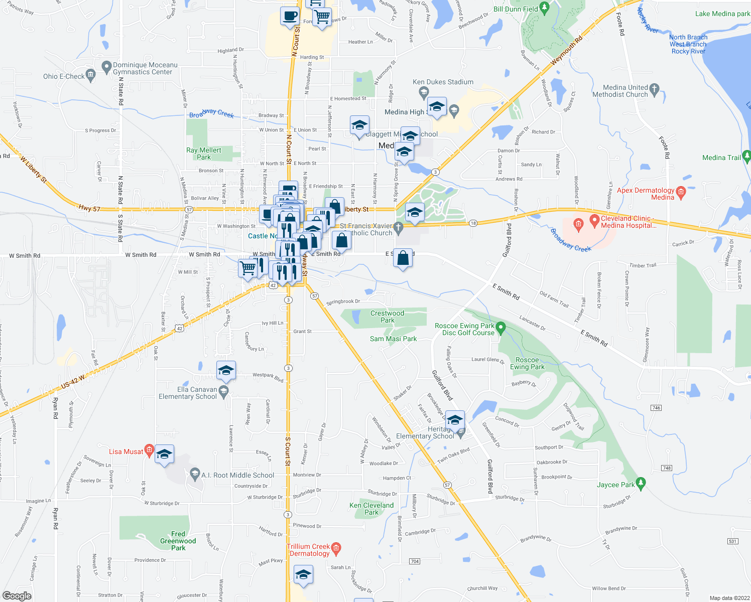 map of restaurants, bars, coffee shops, grocery stores, and more near Springbrook Dr in Medina