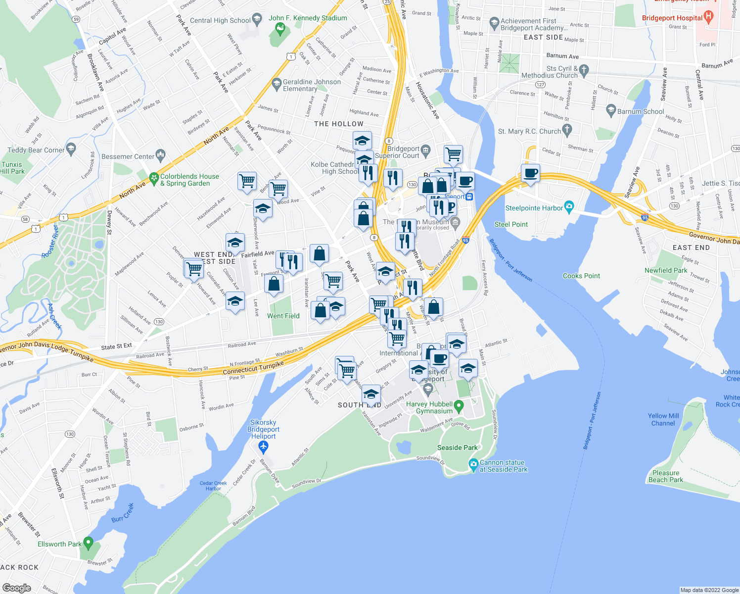 map of restaurants, bars, coffee shops, grocery stores, and more near 327-419 Prospect St in Bridgeport