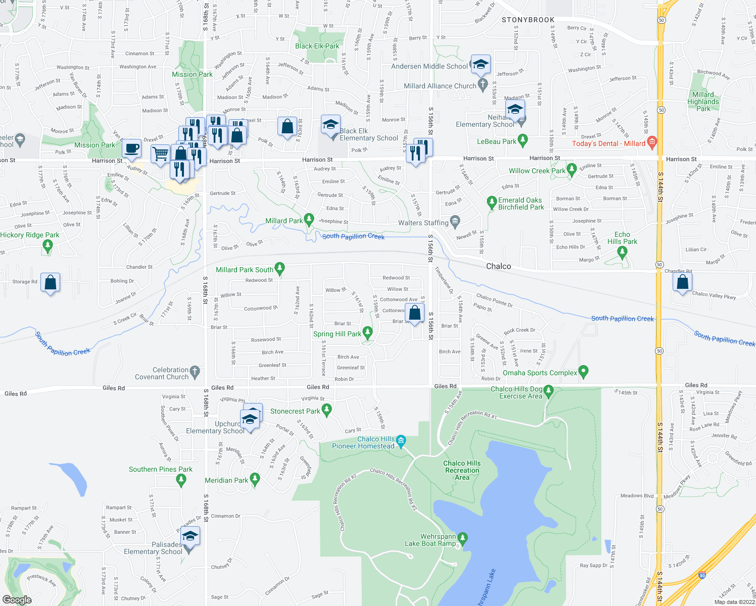 map of restaurants, bars, coffee shops, grocery stores, and more near 7820 South 159th Street in Omaha