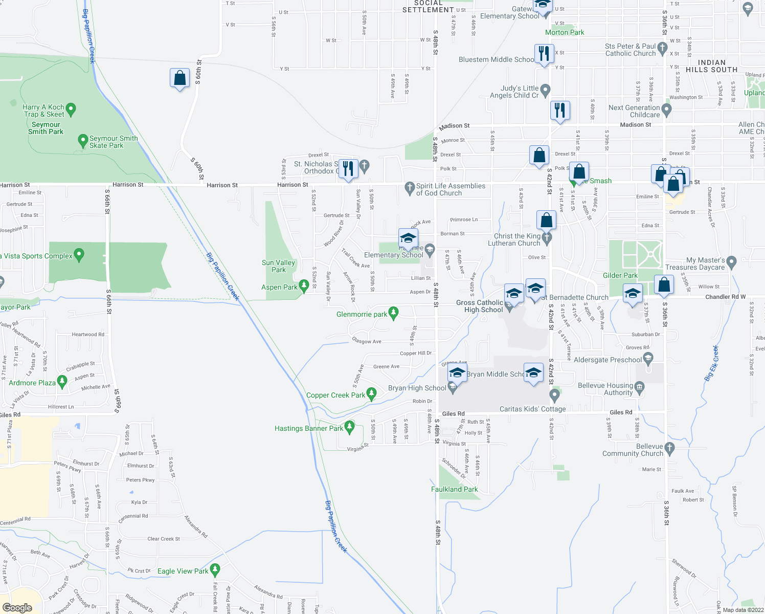 map of restaurants, bars, coffee shops, grocery stores, and more near 4933 Bernadette Avenue in Bellevue