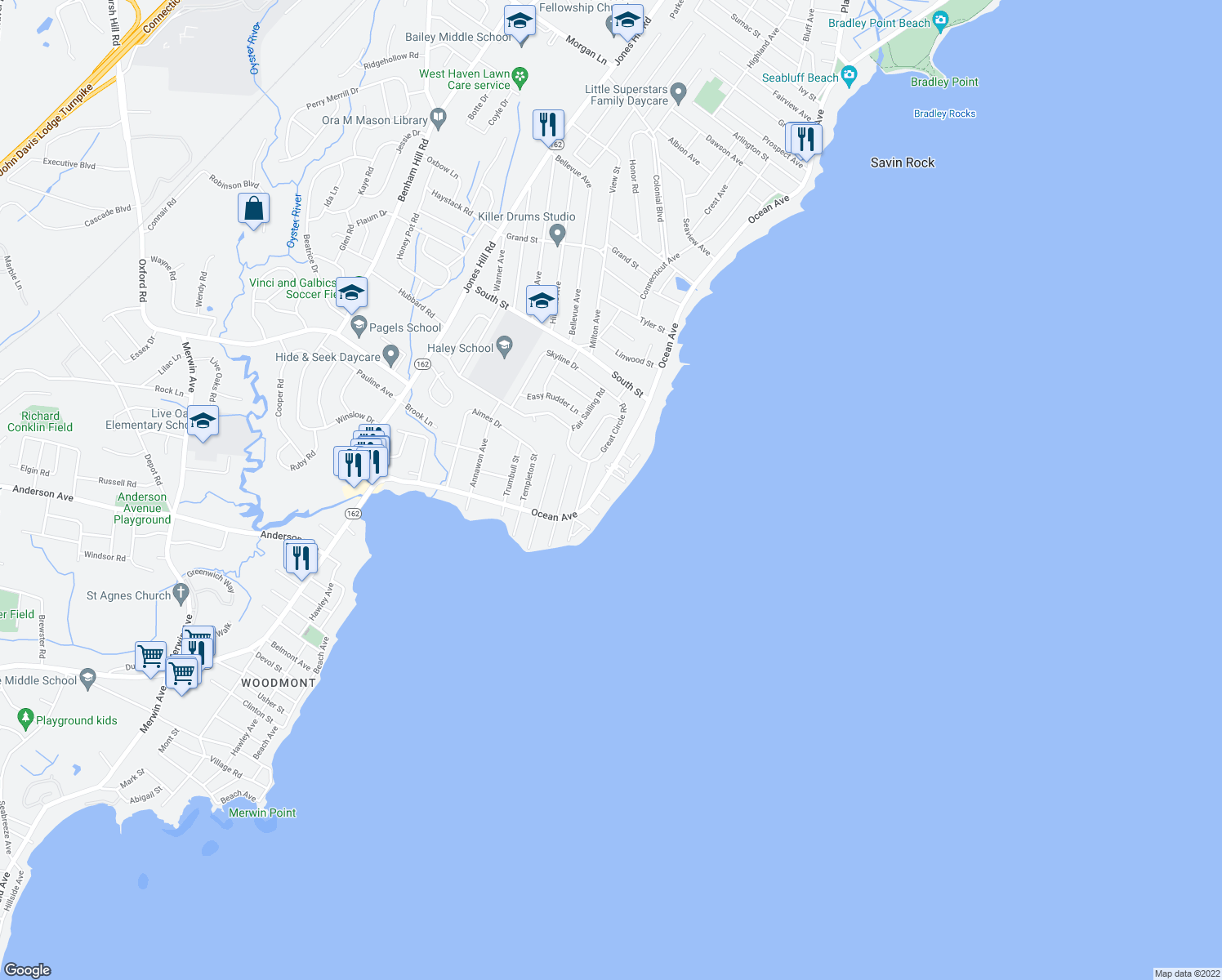 map of restaurants, bars, coffee shops, grocery stores, and more near 381 Ocean Ave in West Haven