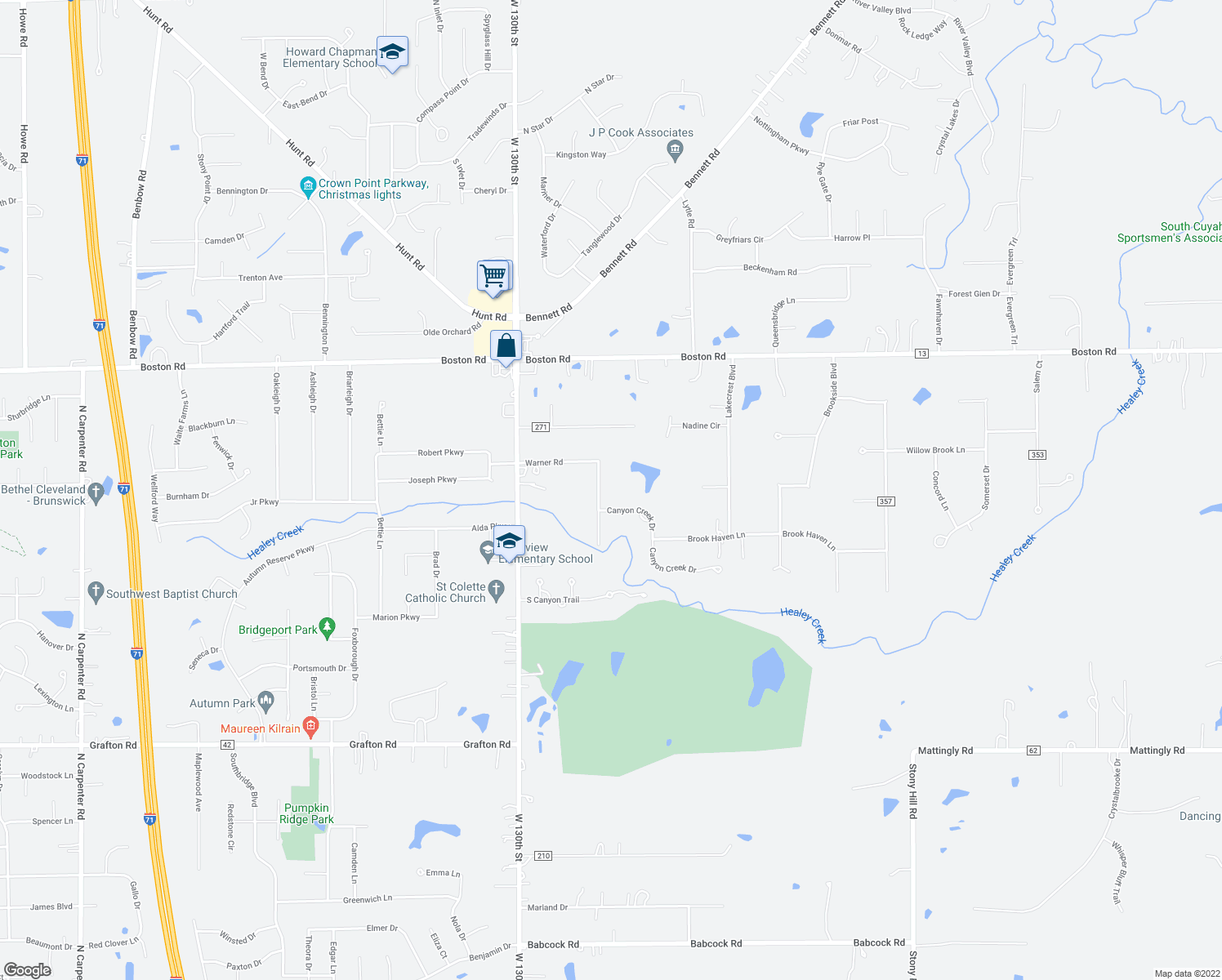map of restaurants, bars, coffee shops, grocery stores, and more near 189 Warner Road in Medina