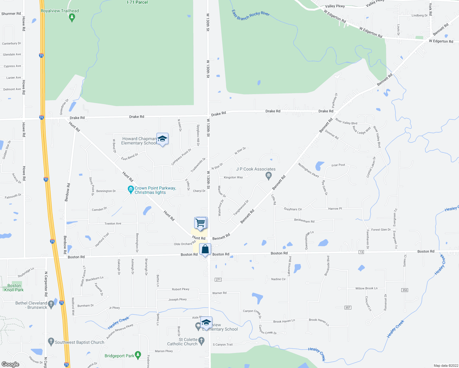 map of restaurants, bars, coffee shops, grocery stores, and more near 15041 Waterford Dr in North Royalton