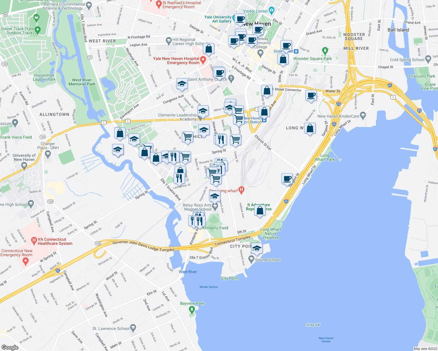 map of restaurants, bars, coffee shops, grocery stores, and more near 27 Kimberly Avenue in New Haven