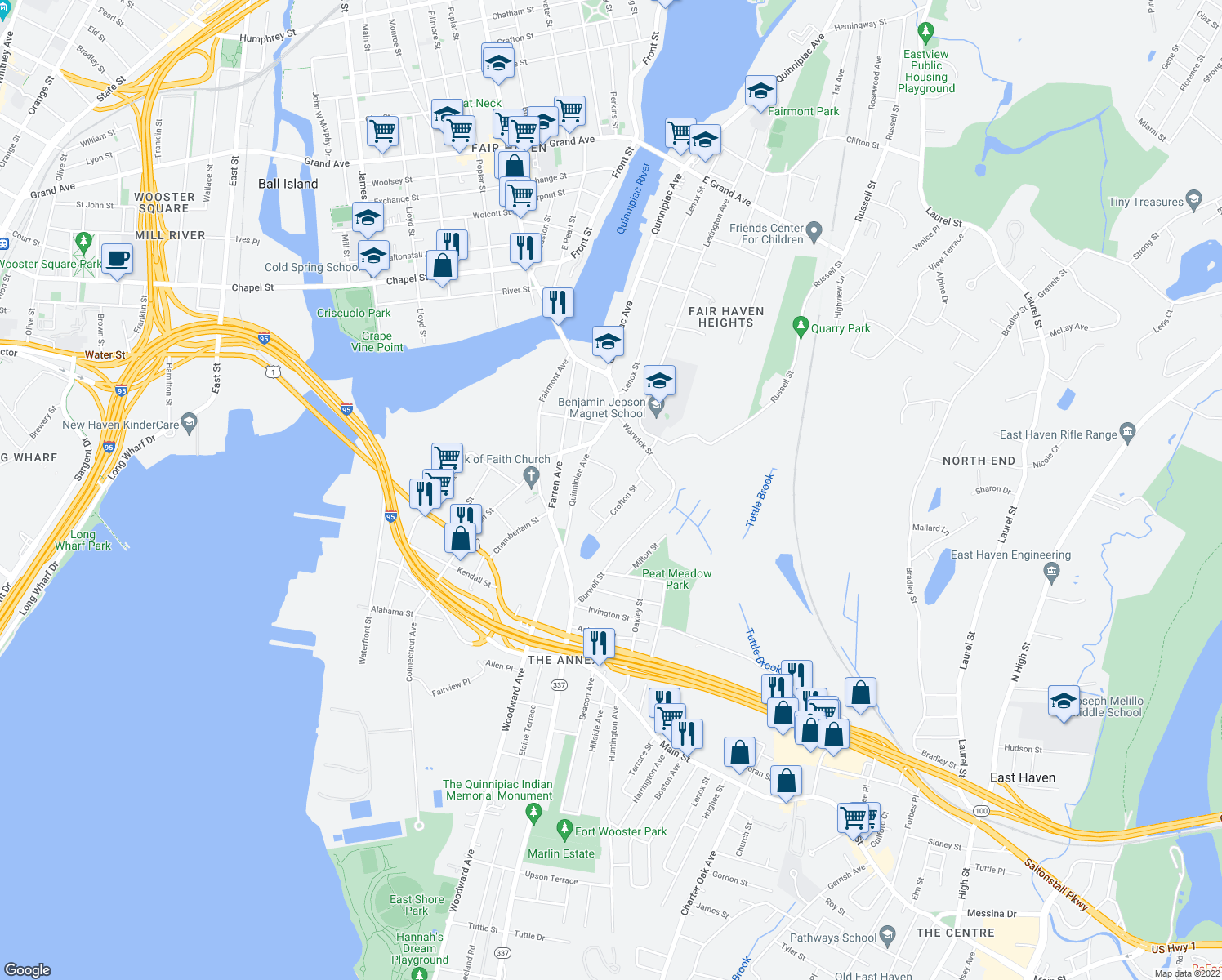 map of restaurants, bars, coffee shops, grocery stores, and more near Judith Terrace in New Haven