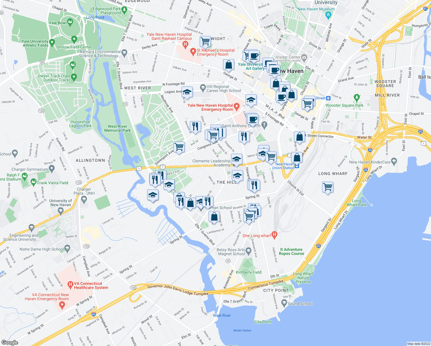 map of restaurants, bars, coffee shops, grocery stores, and more near 35 Fran