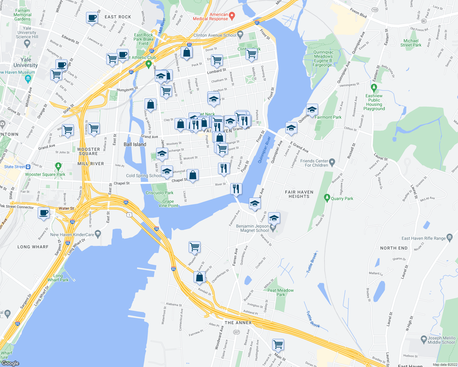 map of restaurants, bars, coffee shops, grocery stores, and more near 140 Ferry Street in New Haven