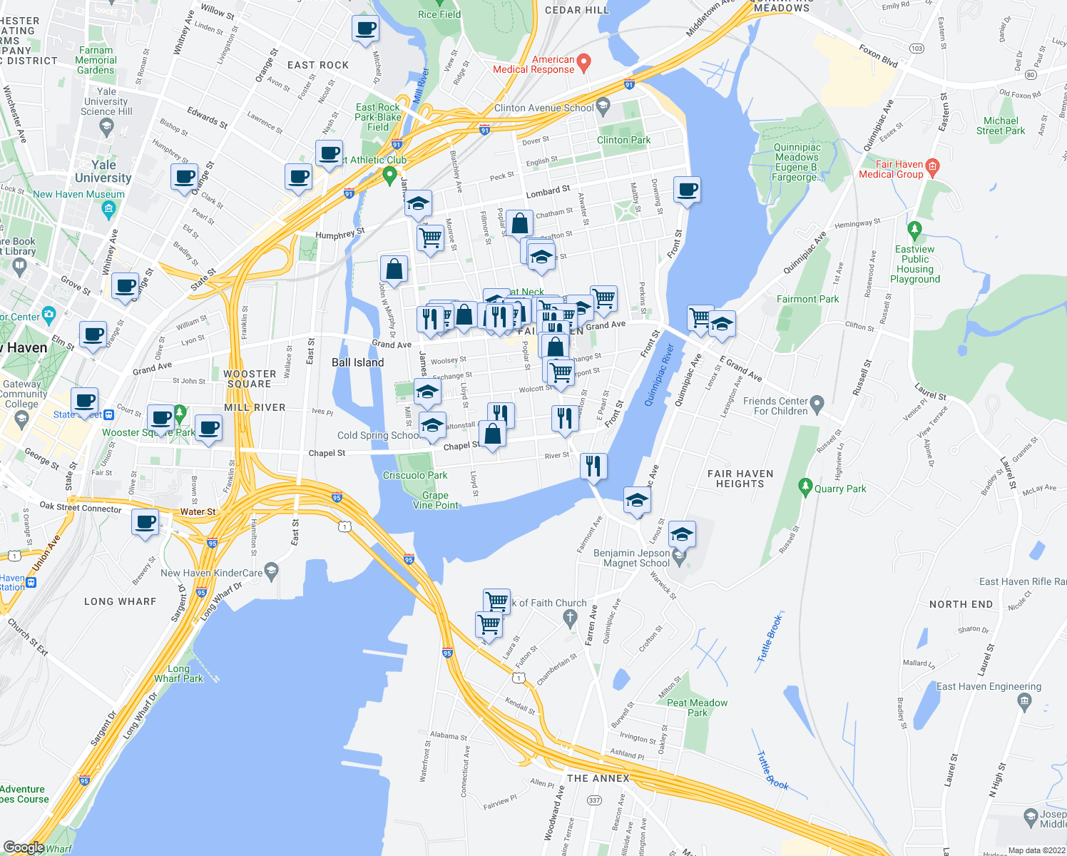 map of restaurants, bars, coffee shops, grocery stores, and more near 104 Poplar Street in New Haven