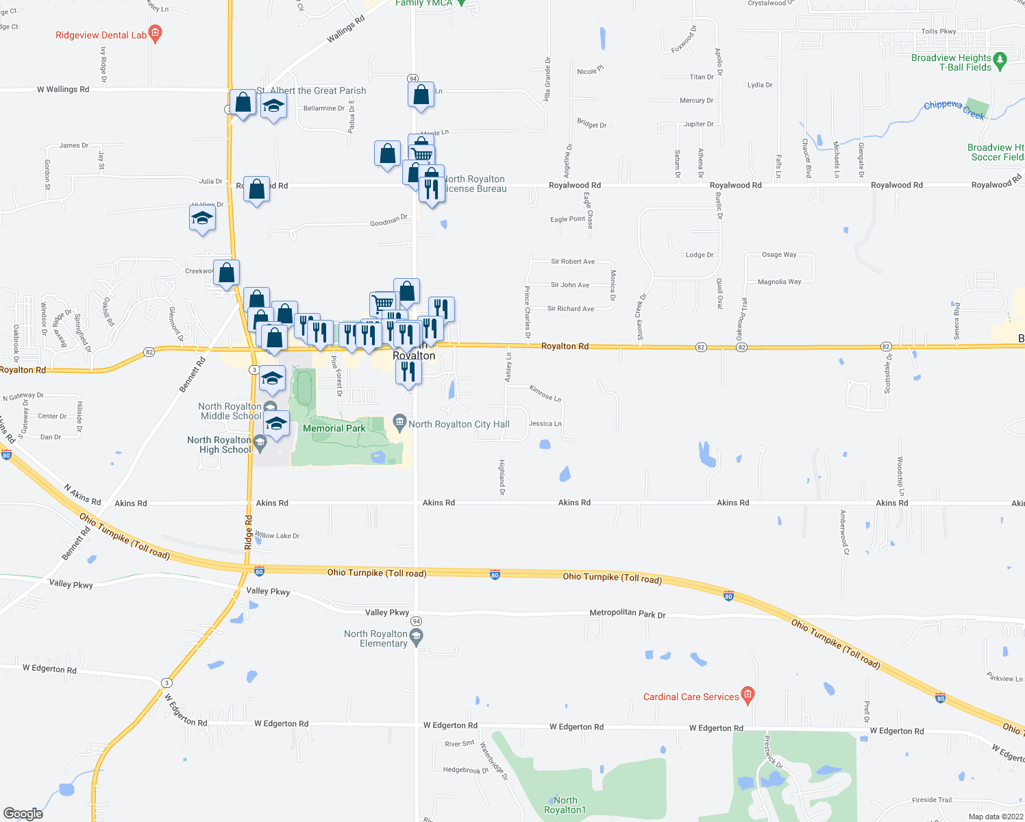 map of restaurants, bars, coffee shops, grocery stores, and more near 14129 Ashley Lane in North Royalton