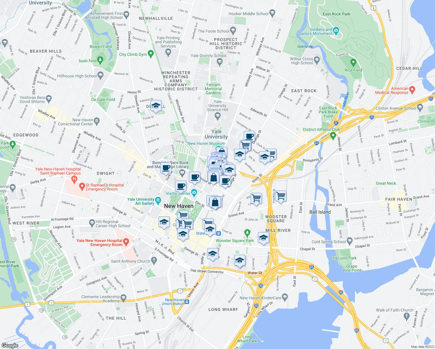 map of restaurants, bars, coffee shops, grocery stores, and more near Whitney Avenue & Audubon Street in New Haven