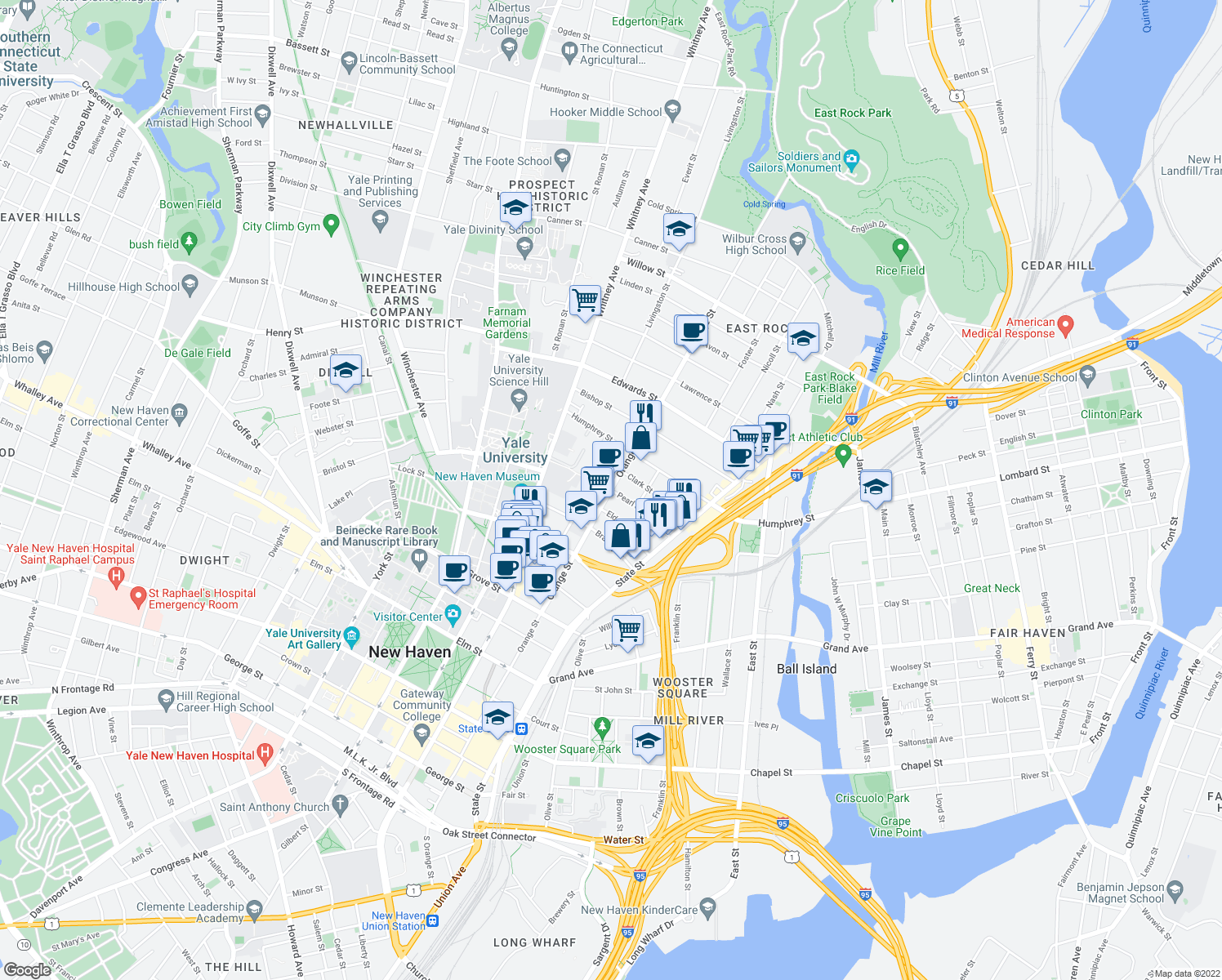 map of restaurants, bars, coffee shops, grocery stores, and more near Orange Street & Pearl Street in New Haven