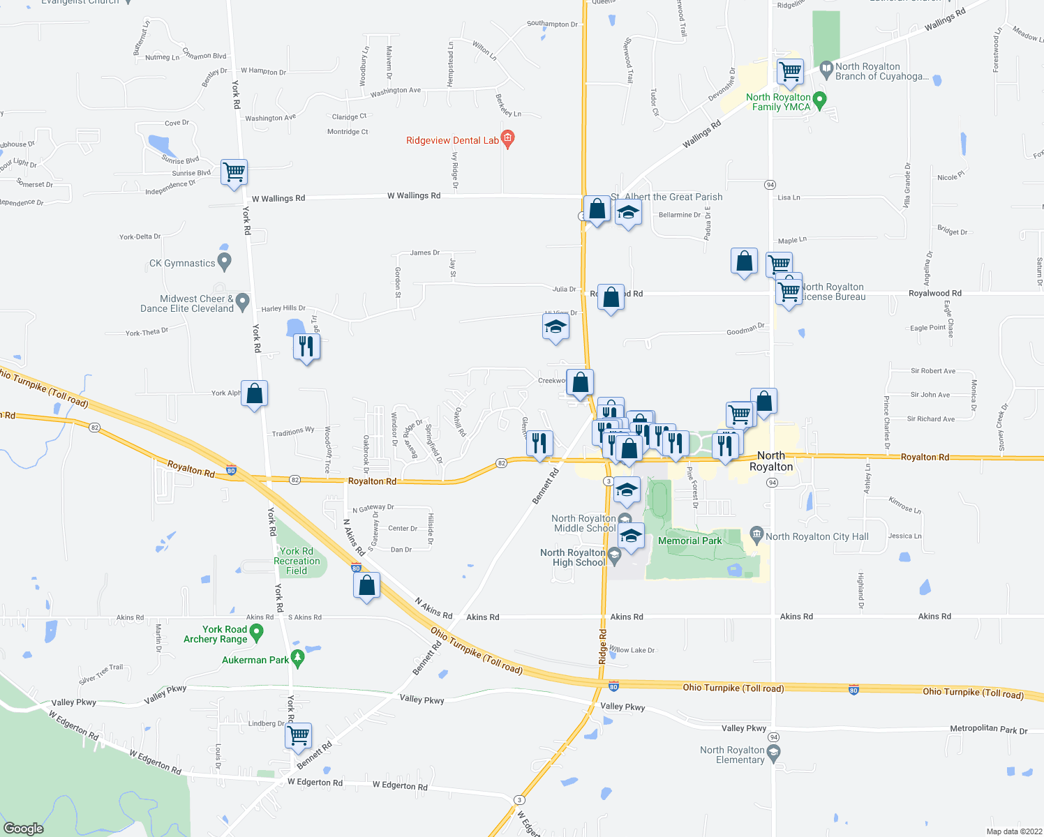 map of restaurants, bars, coffee shops, grocery stores, and more near 7268-7396 Glenmont Drive in North Royalton
