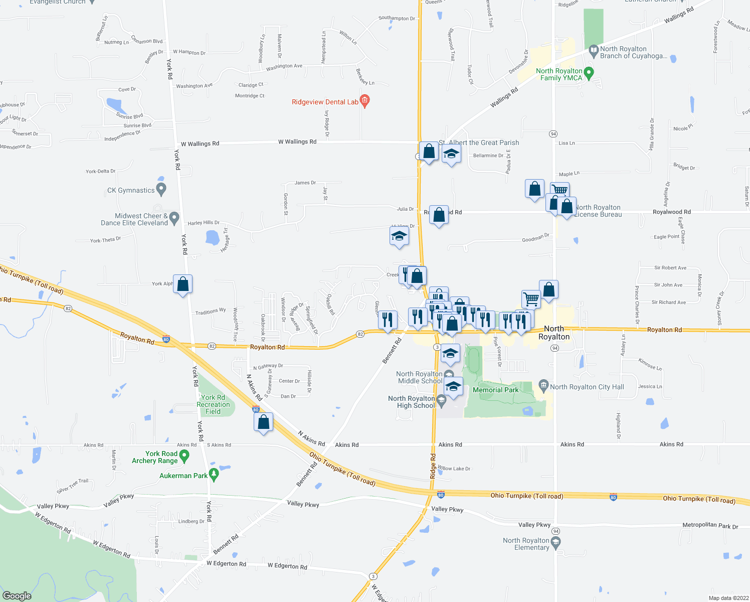 map of restaurants, bars, coffee shops, grocery stores, and more near 7475 Glenmont Drive in North Royalton