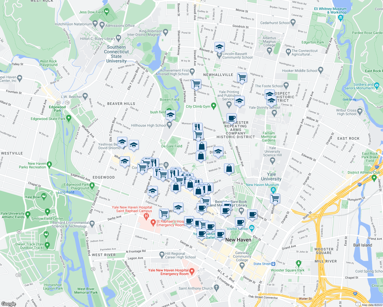 map of restaurants, bars, coffee shops, grocery stores, and more near 49-69 Charles Street in New Haven
