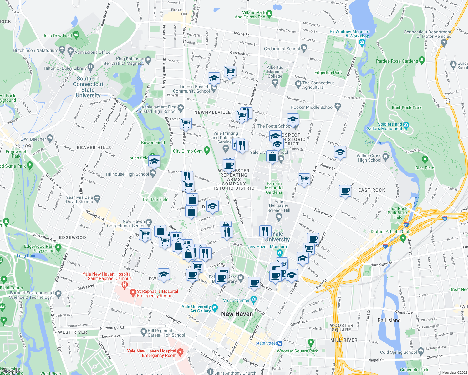 map of restaurants, bars, coffee shops, grocery stores, and more near in New Haven