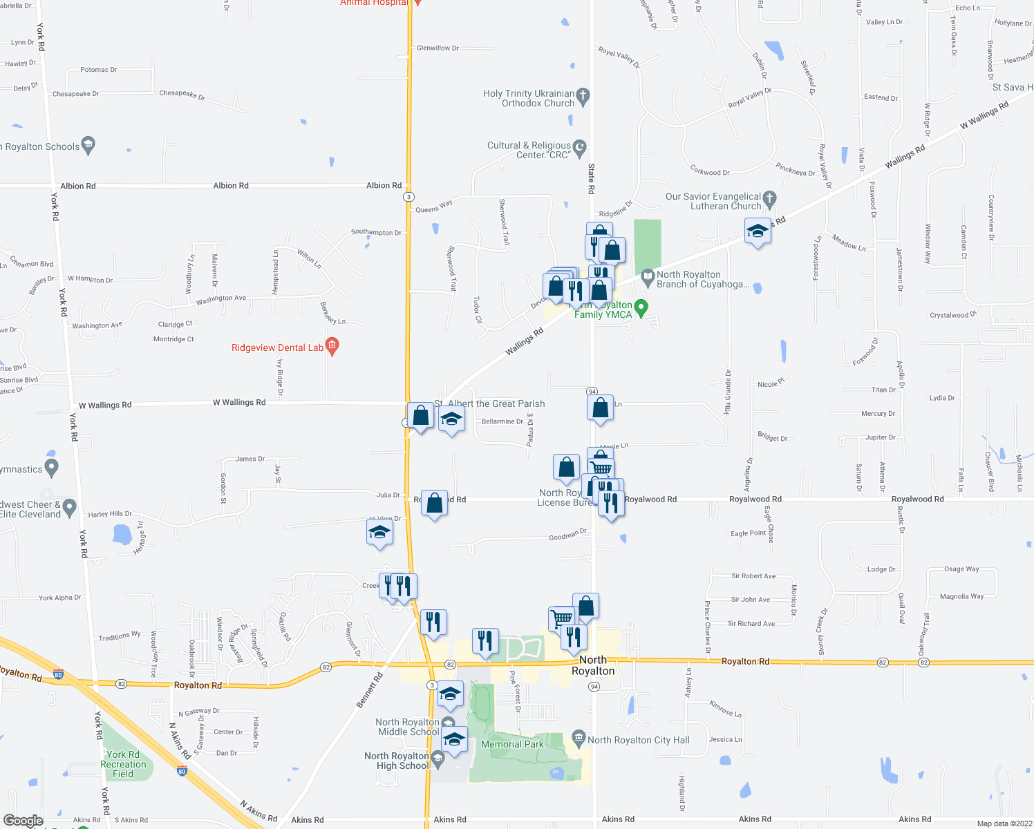 map of restaurants, bars, coffee shops, grocery stores, and more near 6100 Bellarmine Drive in North Royalton