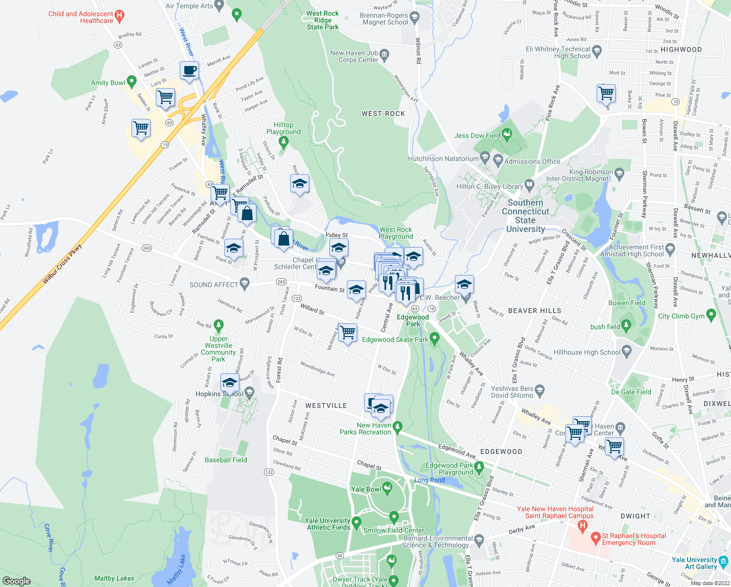 map of restaurants, bars, coffee shops, grocery stores, and more near Fountain Street & Alden Avenue in New Haven