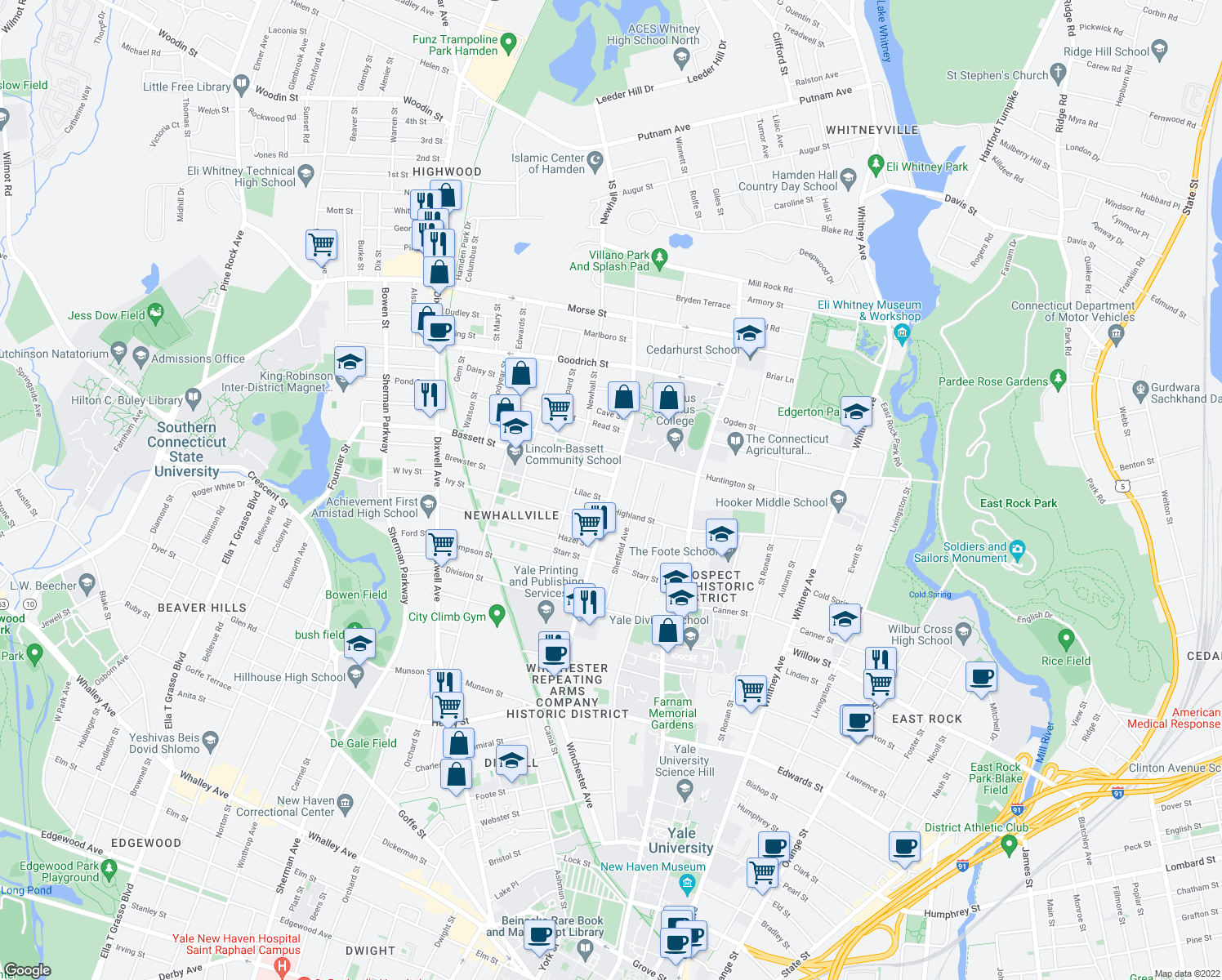 map of restaurants, bars, coffee shops, grocery stores, and more near 702 Winchester Avenue in New Haven
