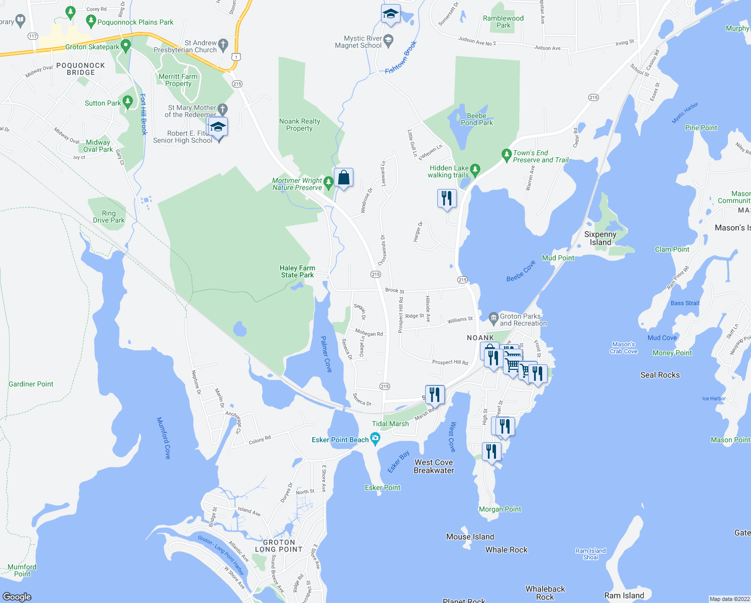 map of restaurants, bars, coffee shops, grocery stores, and more near 651 Groton Long Point Road in Groton