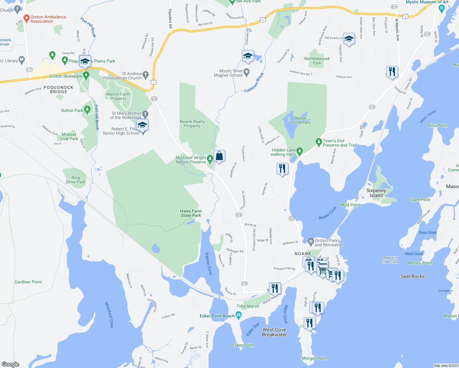 map of restaurants, bars, coffee shops, grocery stores, and more near 490 Groton Long Point Road in Groton