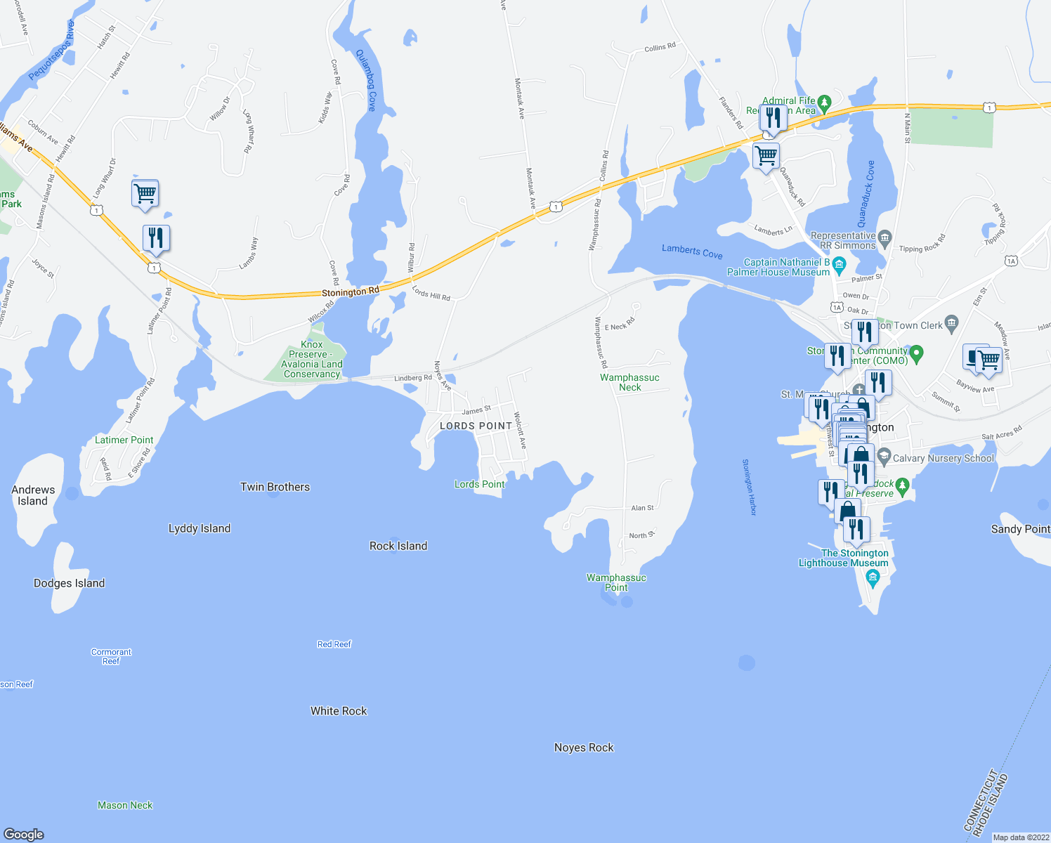 map of restaurants, bars, coffee shops, grocery stores, and more near 33 Hopkins St in Stonington