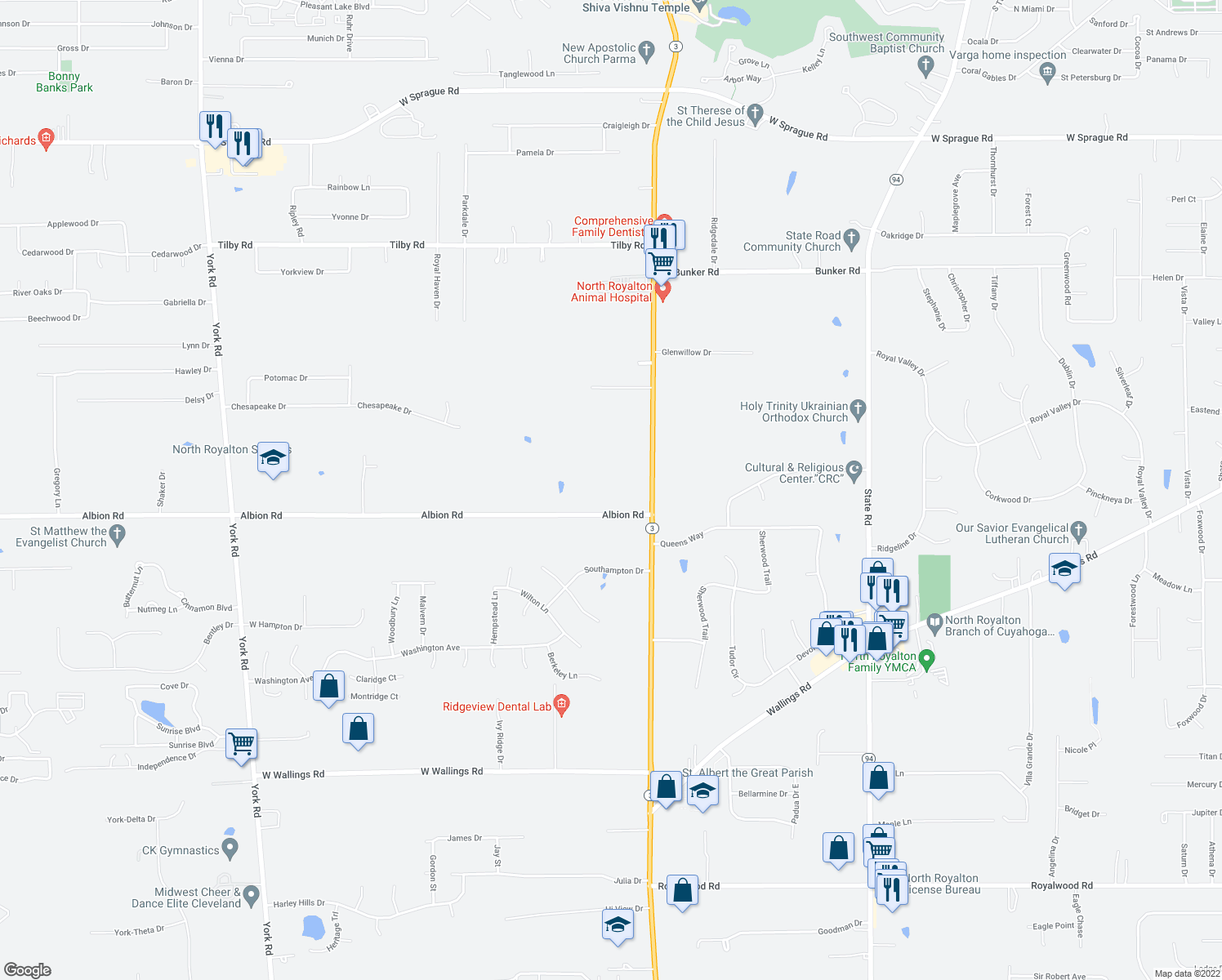 map of restaurants, bars, coffee shops, grocery stores, and more near 7260 Albion Road in North Royalton