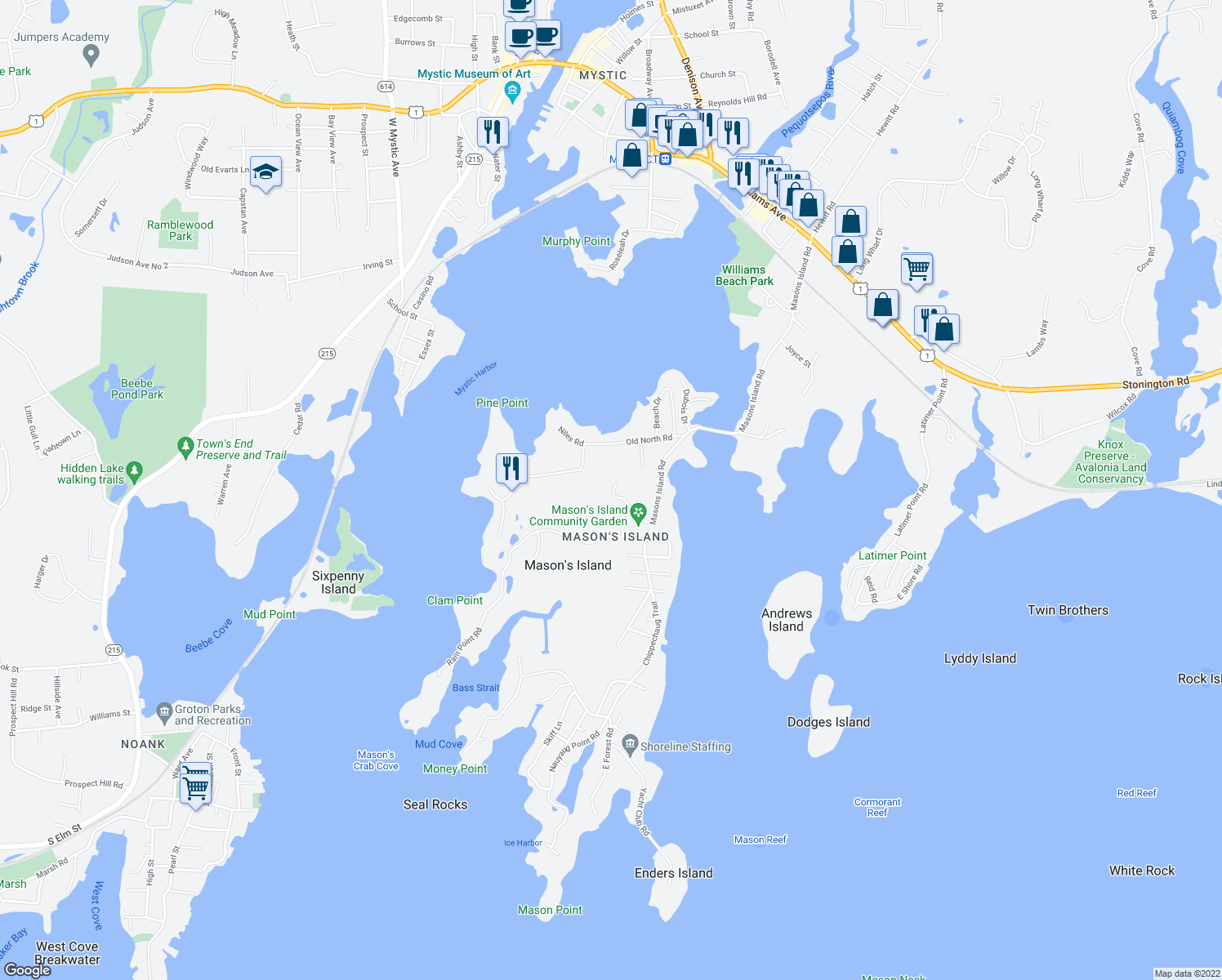 map of restaurants, bars, coffee shops, grocery stores, and more near 7 Egret Road in Mystic