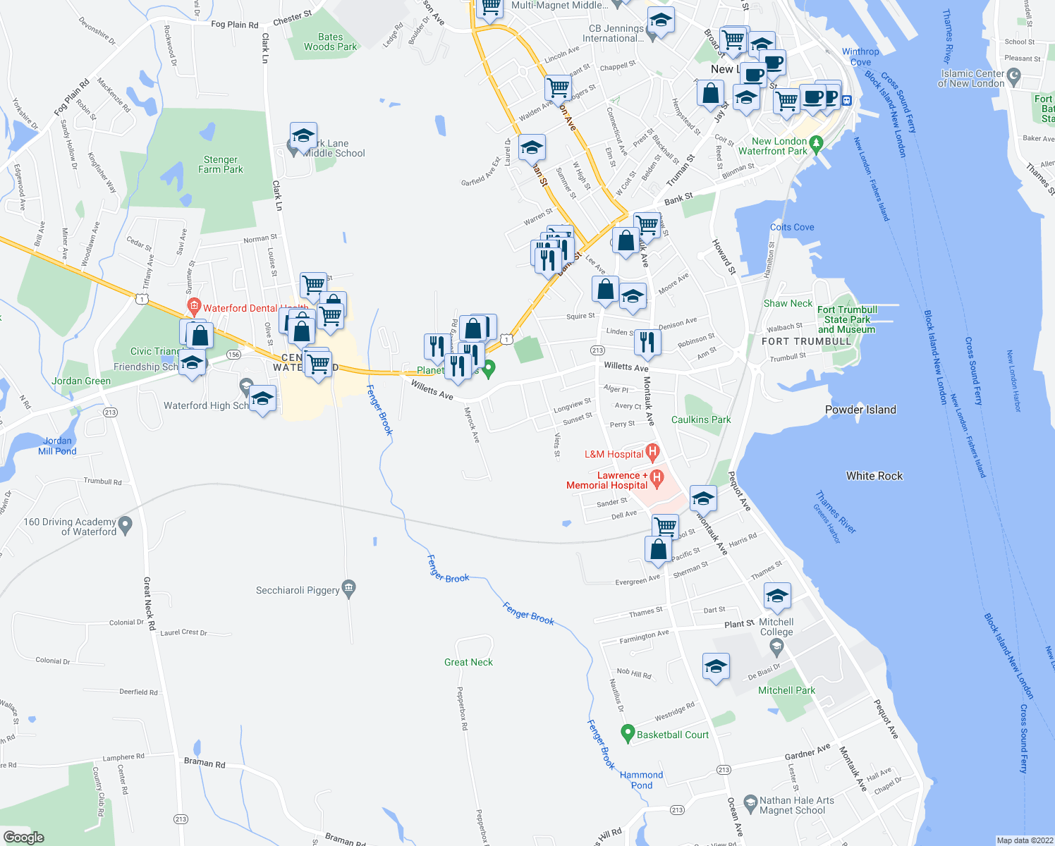 map of restaurants, bars, coffee shops, grocery stores, and more near in Waterford