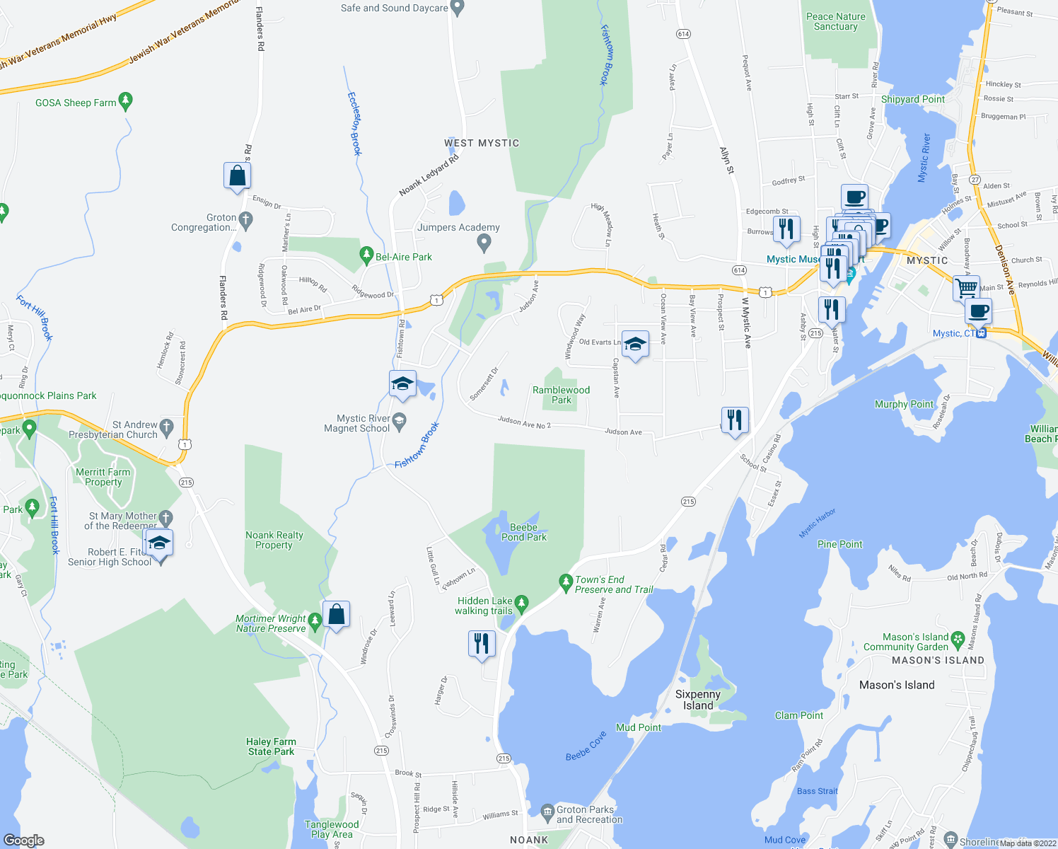map of restaurants, bars, coffee shops, grocery stores, and more near Judson Avenue in Groton