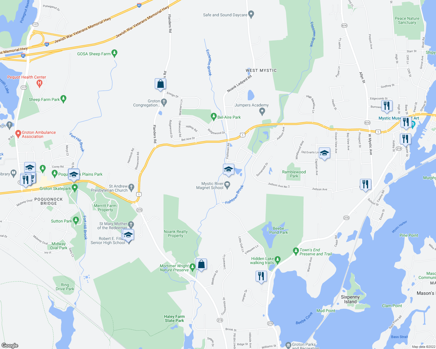 map of restaurants, bars, coffee shops, grocery stores, and more near 139 Fishtown Road in Groton