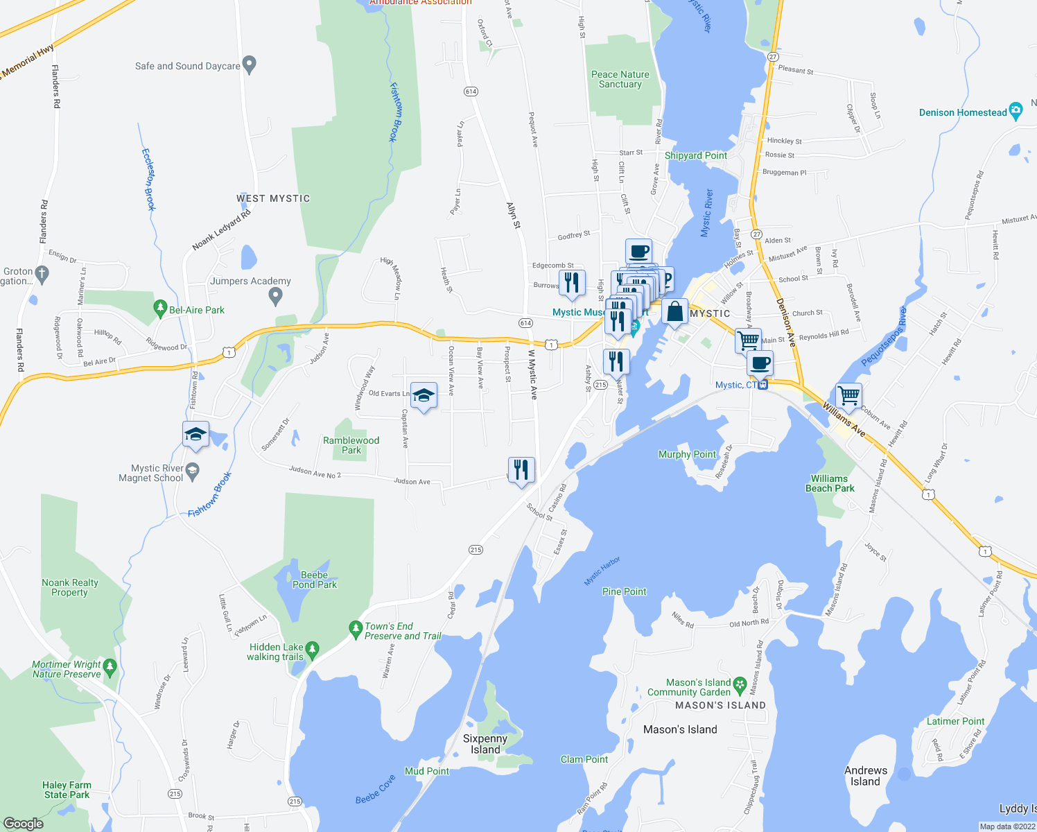 map of restaurants, bars, coffee shops, grocery stores, and more near 4 Thomas Street in Groton