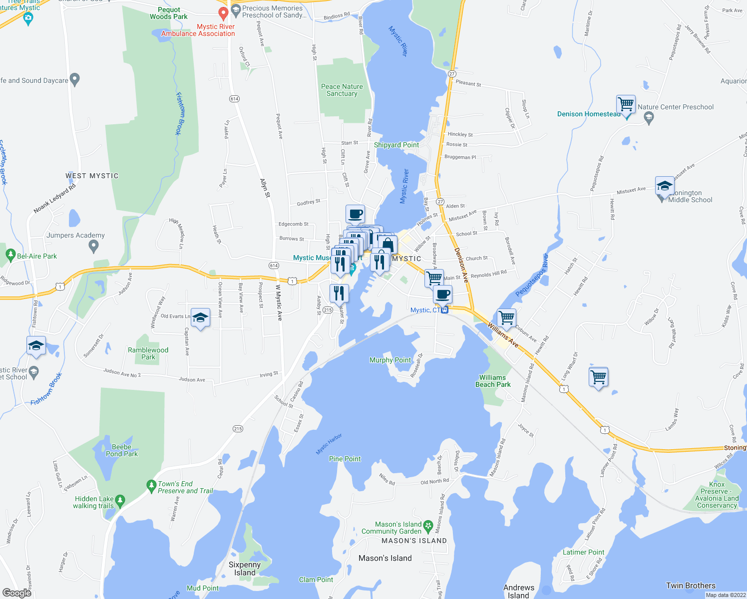 map of restaurants, bars, coffee shops, grocery stores, and more near 60 Willow Street in Stonington