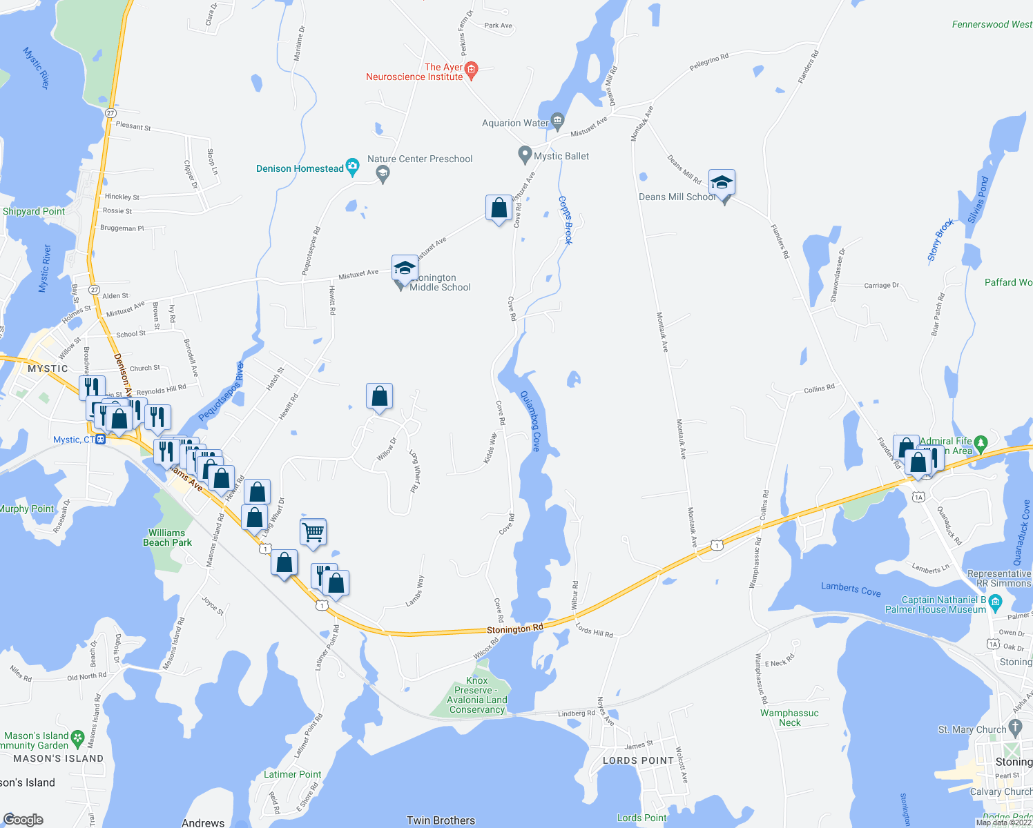 map of restaurants, bars, coffee shops, grocery stores, and more near 152 Cove Rd in Stonington