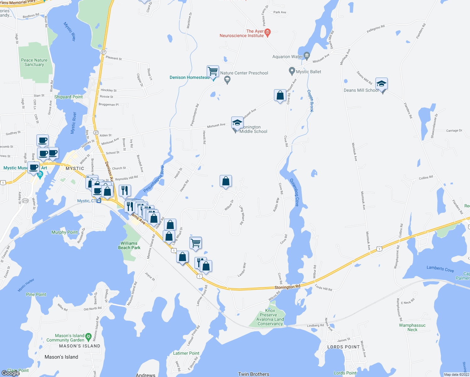 map of restaurants, bars, coffee shops, grocery stores, and more near 7 Canberra Court in Stonington
