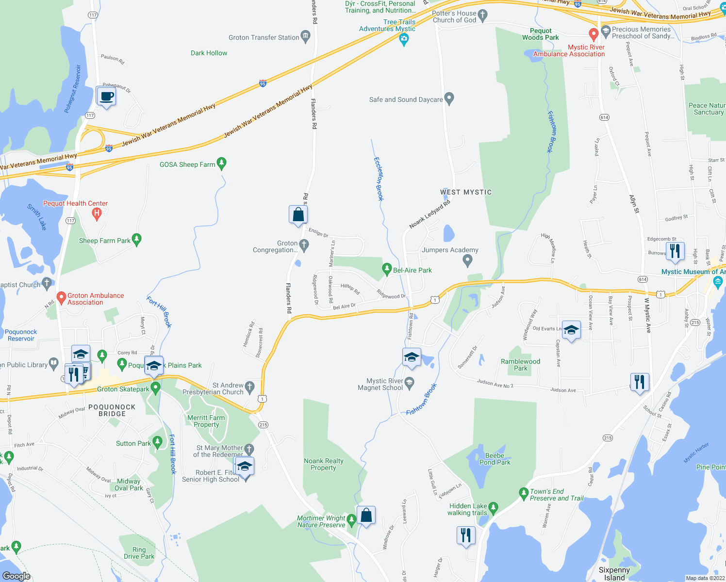 map of restaurants, bars, coffee shops, grocery stores, and more near 23 Hilltop Road in Groton